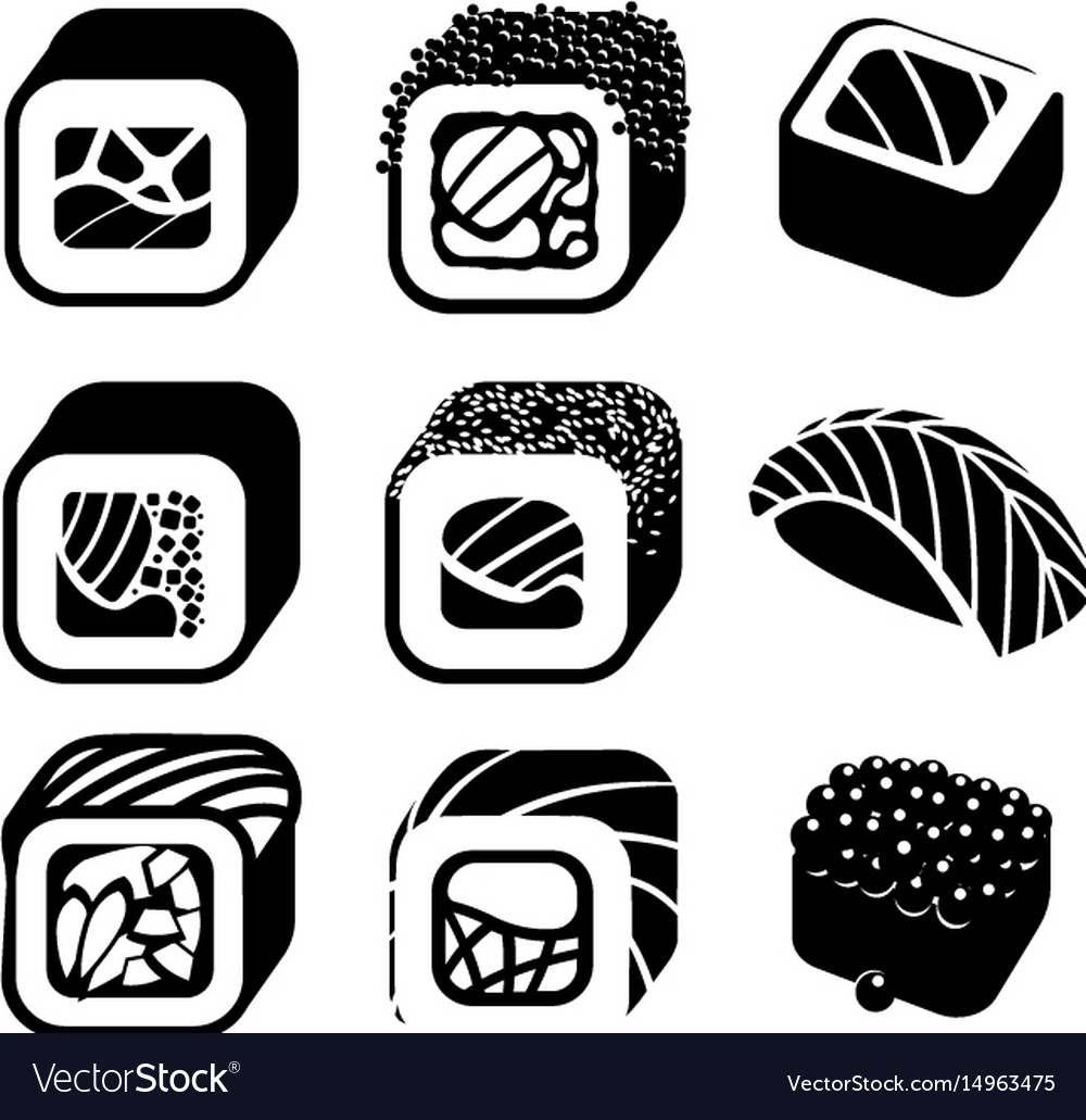 Monochrome japanese food color cartoon style