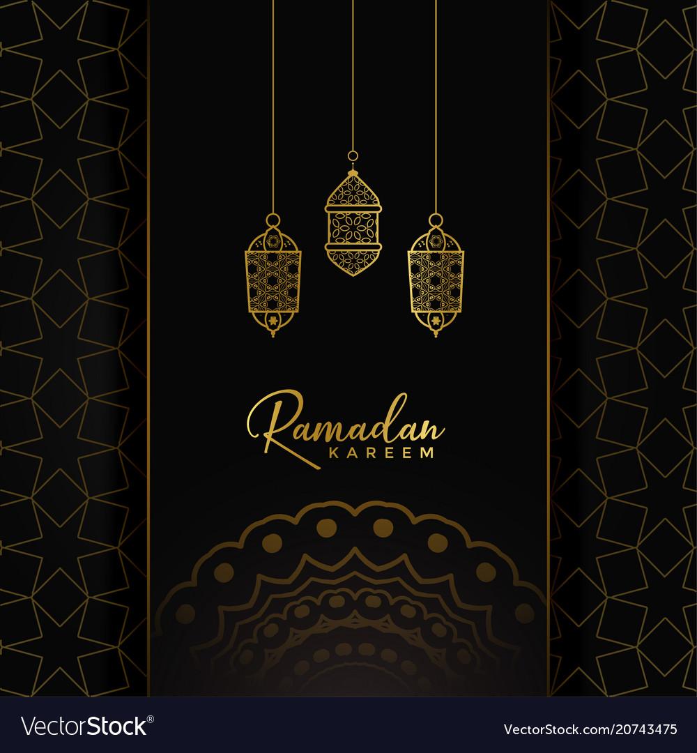 Ramadan kareem card design with hanging golden