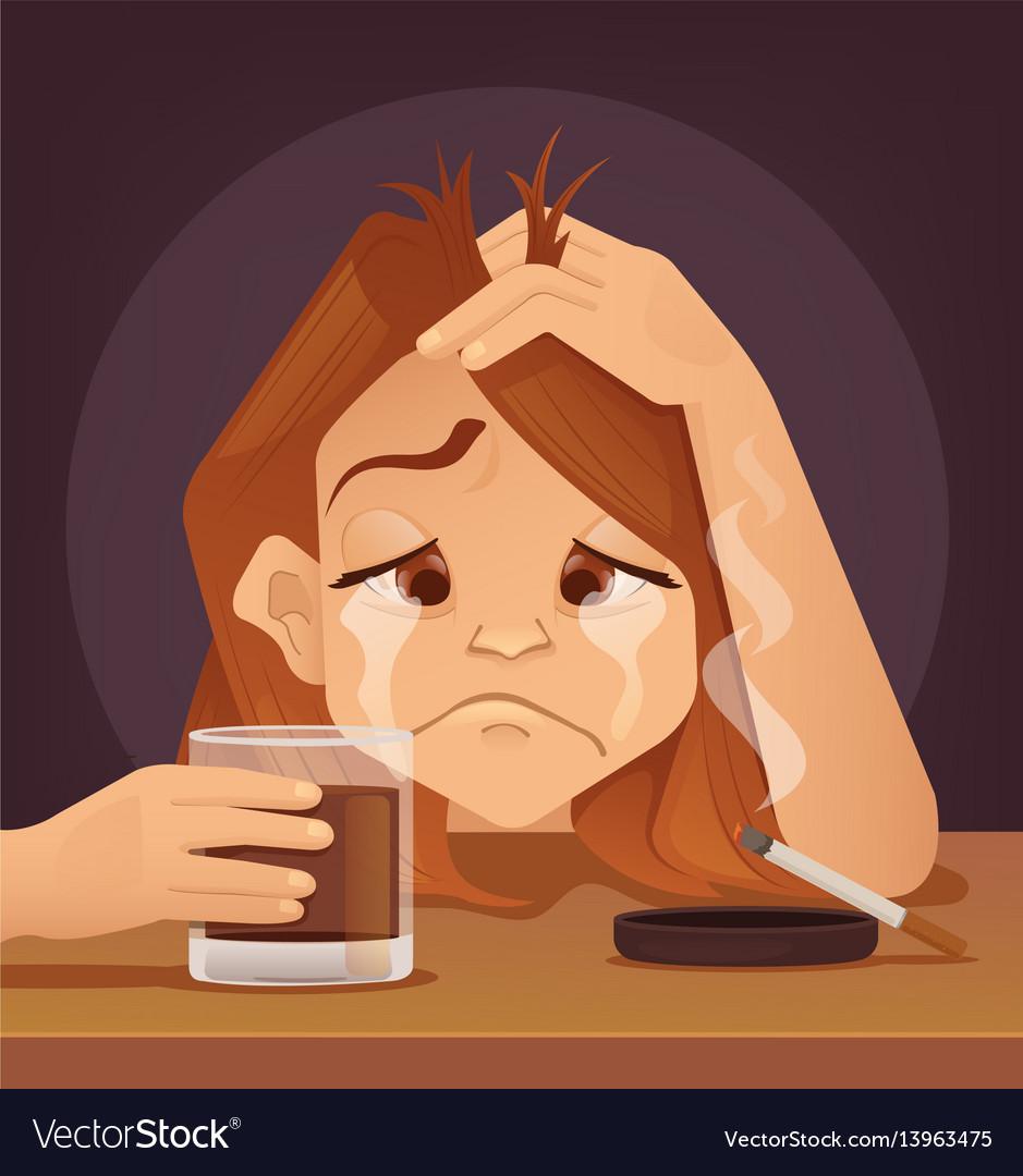 Sad unhappy young woman teenager character cryo