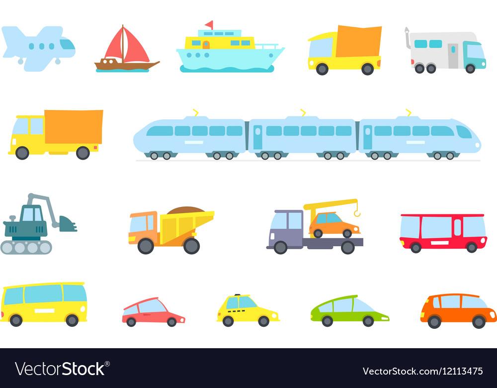 Set of transport Variety machines methods cargo vector image