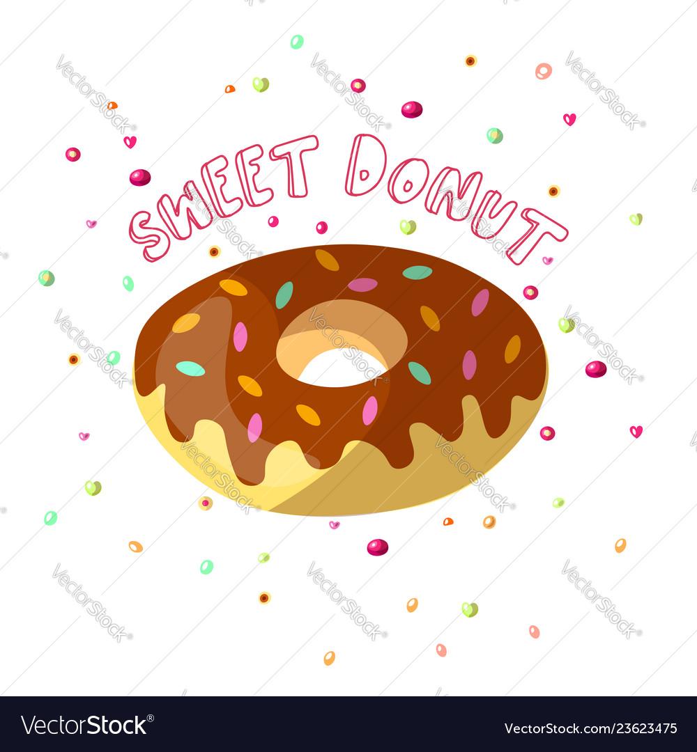 Sweet cartoon chocolate donut with