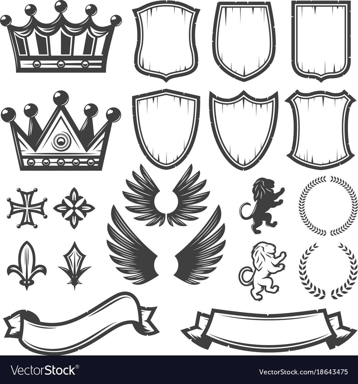 Vintage monochrome heraldic elements collection