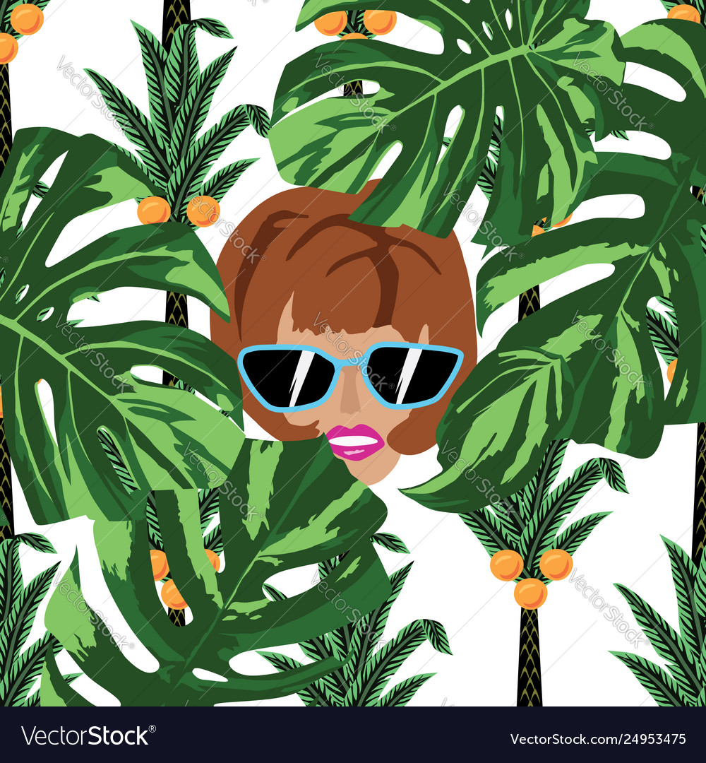 Women face in jungle white background