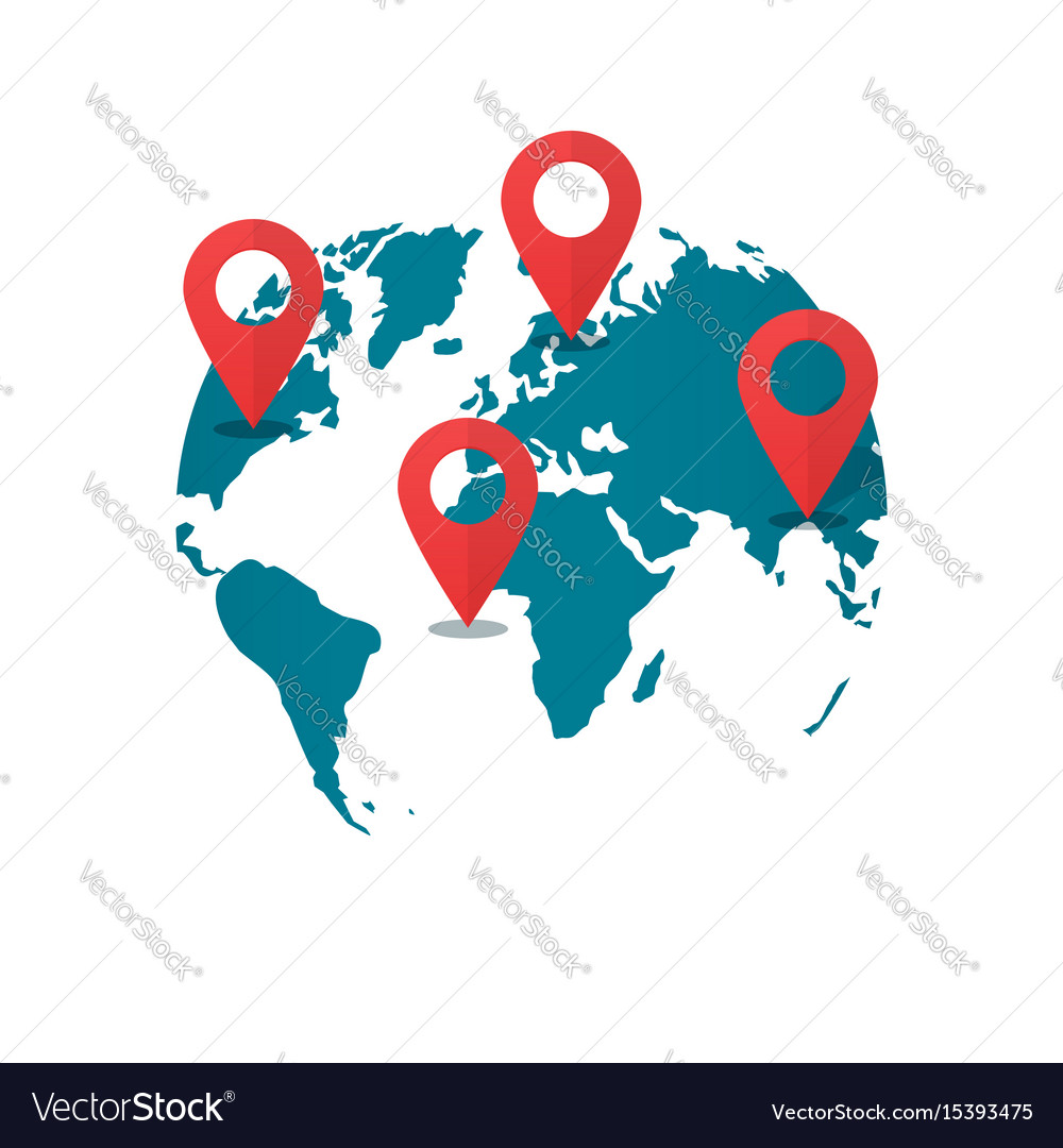 World Map Gps.World Map Destination Pins Concept Of Global Gps Vector Image