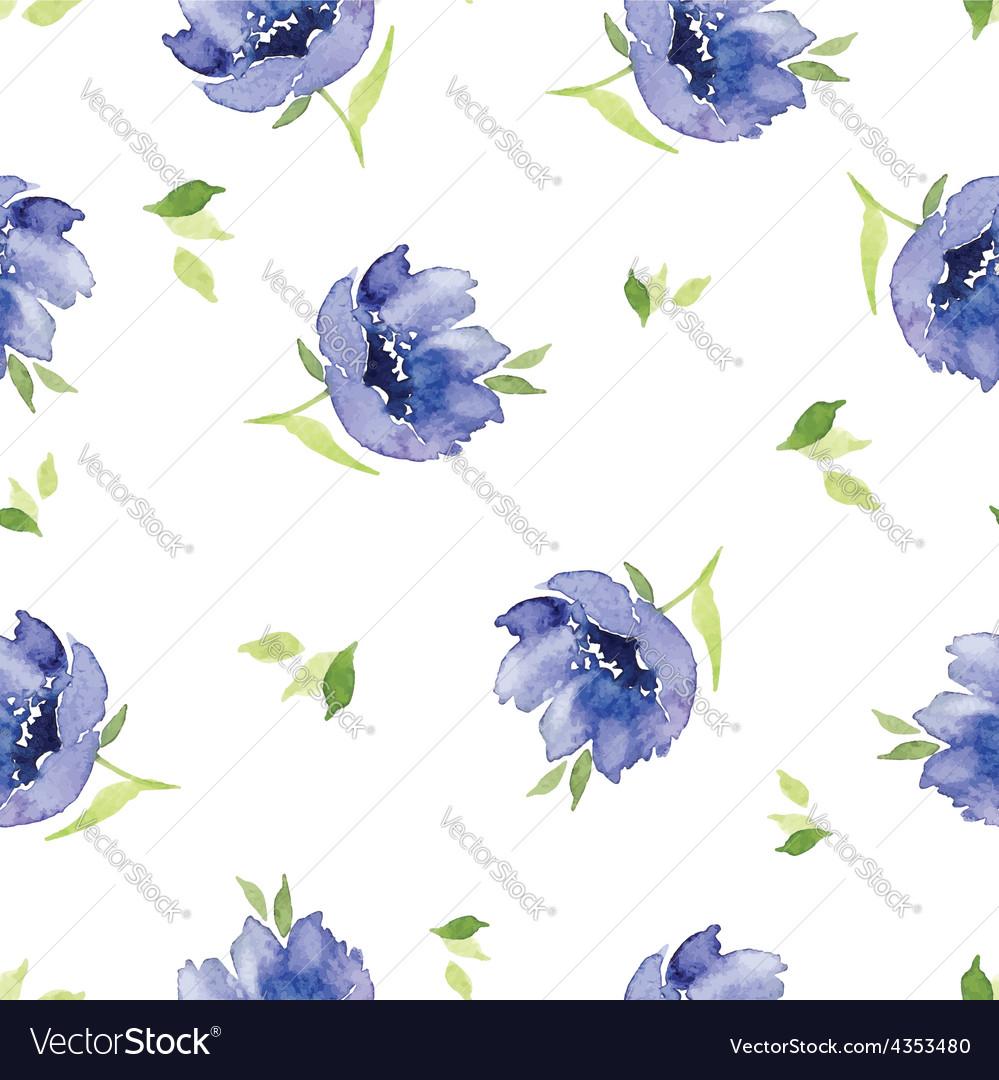 Blue Watercolor Flowers Seamless Pattern