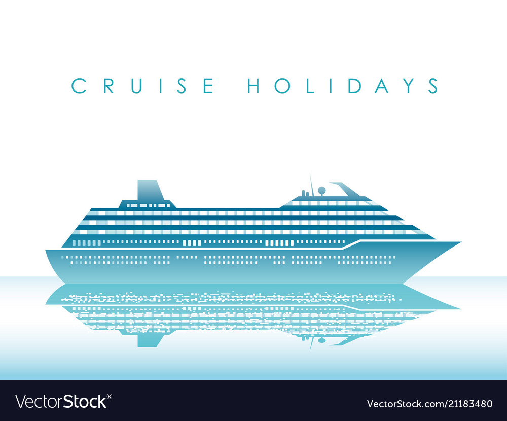 Cruise liner on a white background with text space