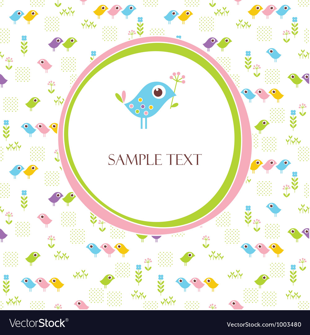 Greeting Card With Cute Bird Royalty Free Vector Image