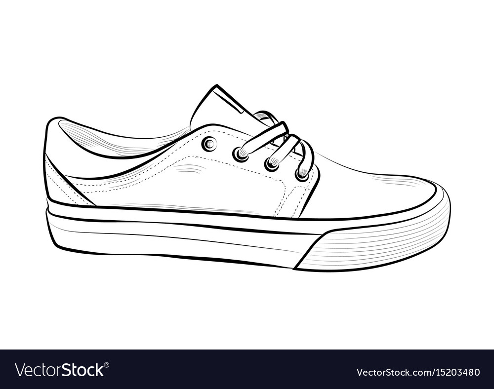 904b658fd3ff Hand drawn sketch of sport shoes sneakers for Vector Image