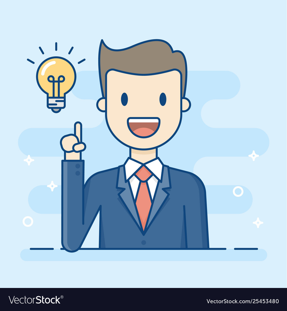 Happy businessman having a good idea