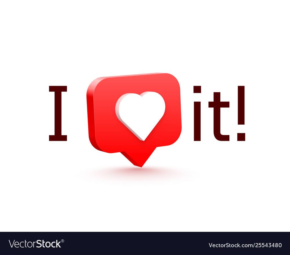 I like it 3d heart like social network white