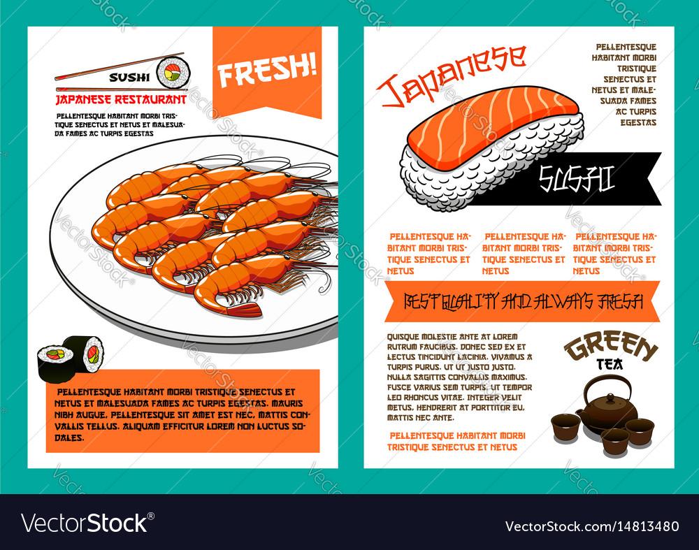 Japanese cuisine restaurant menu poster template