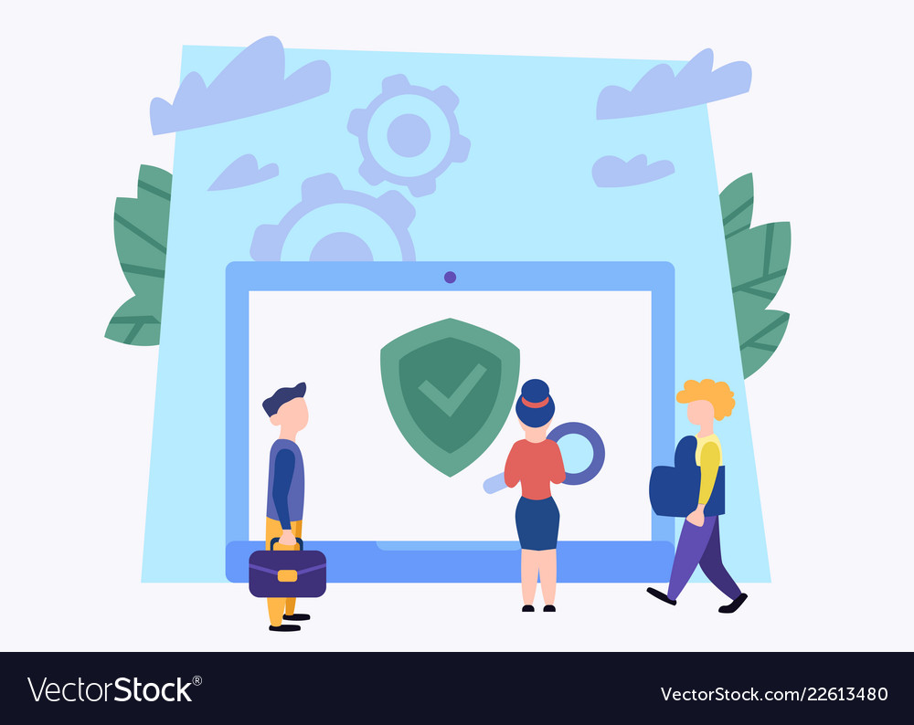 People and laptop data security concept business