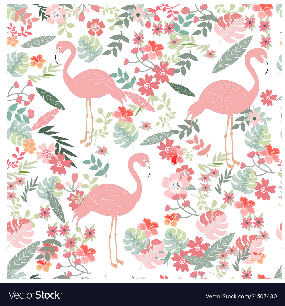 Seamless pattern flamingo in spring flower garden