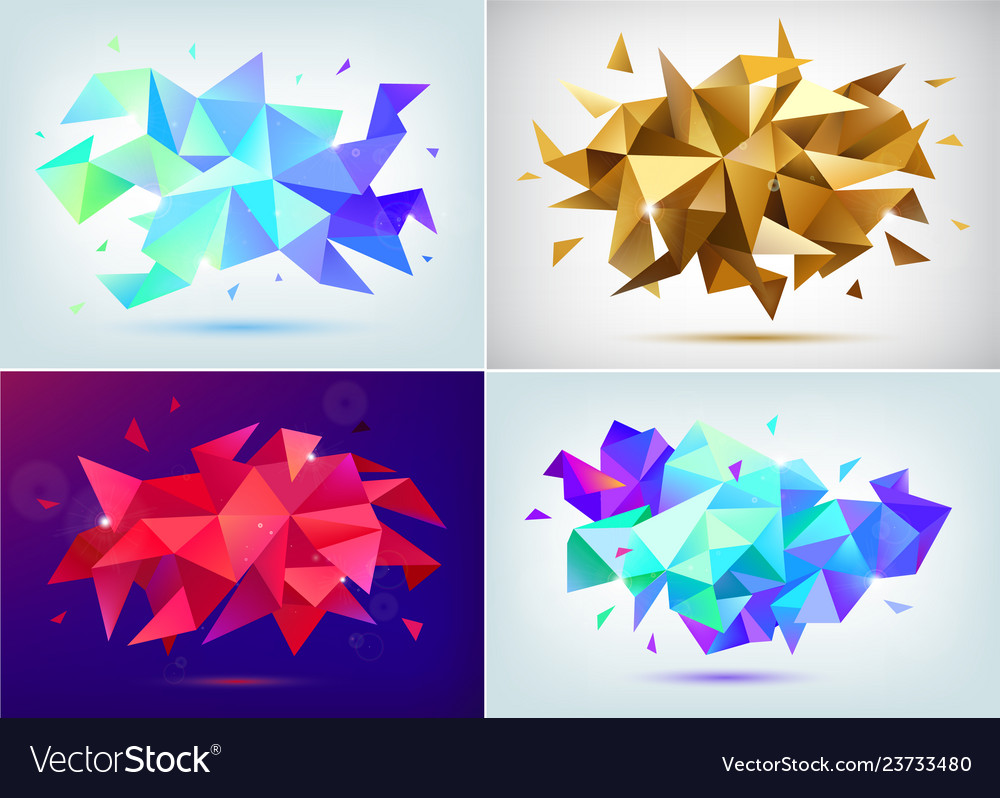 Set abstract facet 3d shapes geometric