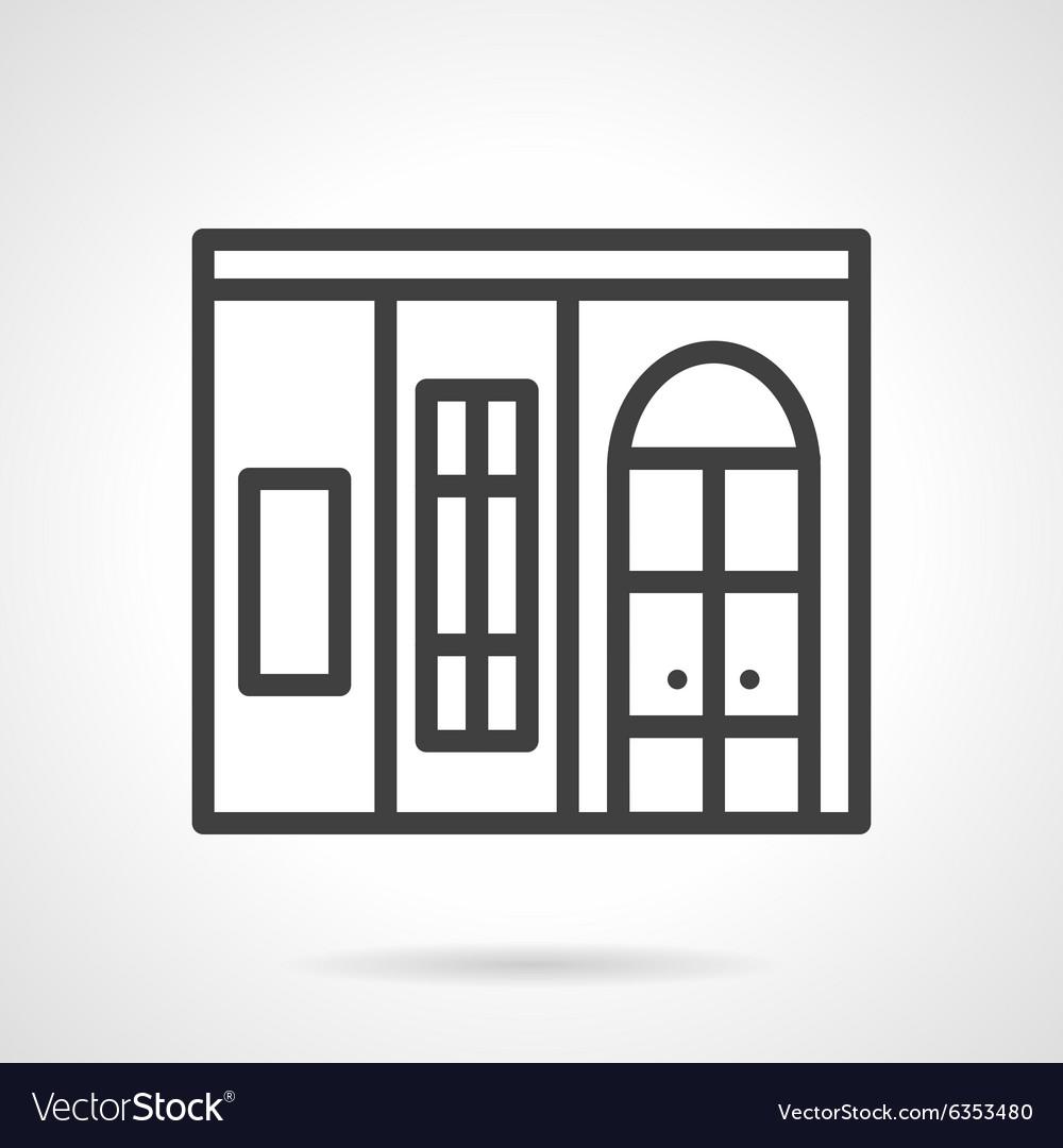 Shop window simple line icon vector image