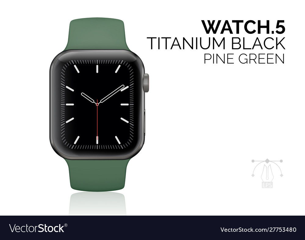 Smart watch with pine green bracelet realistic