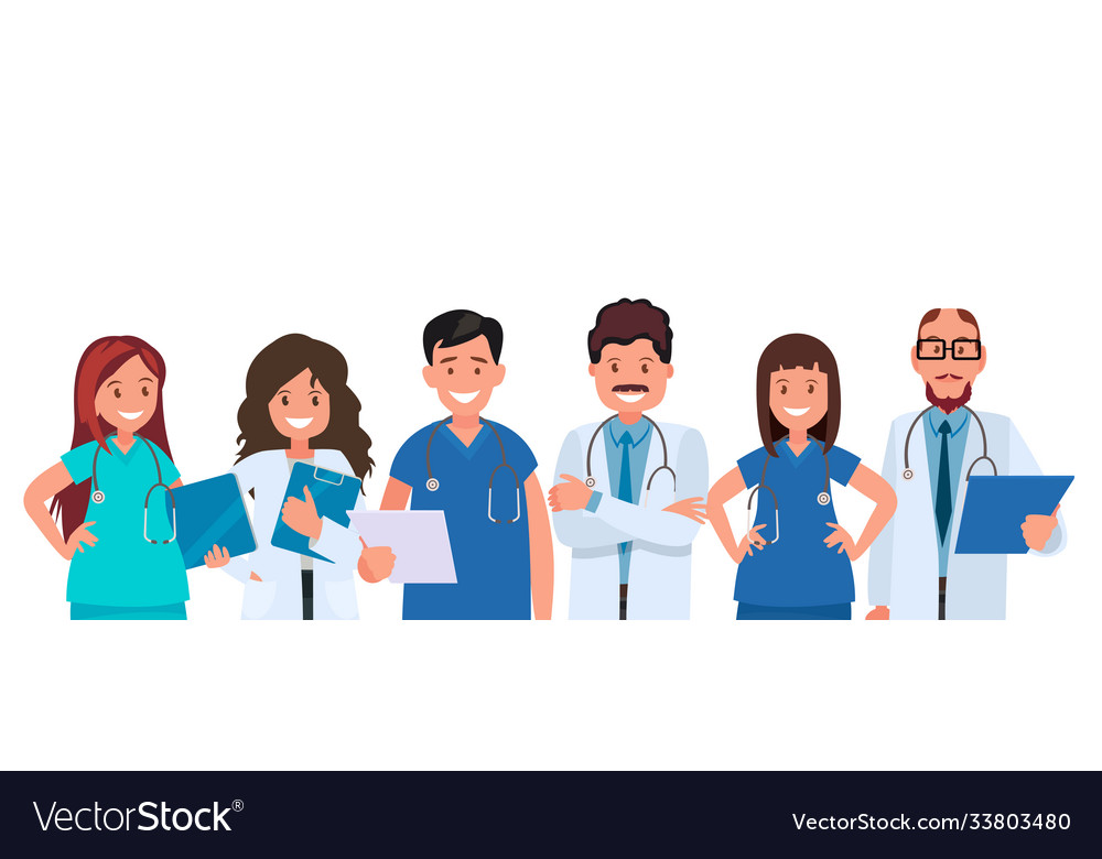 Team doctors on a white background medical