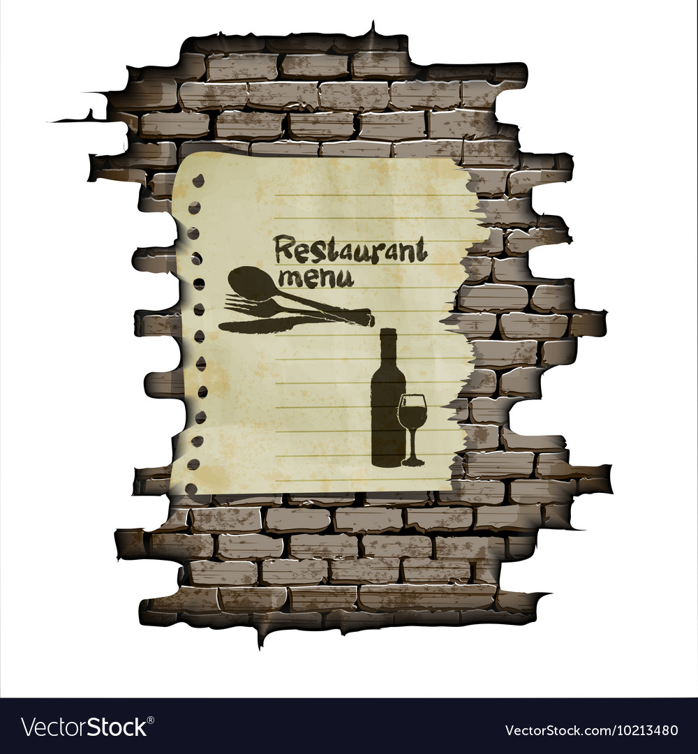 Template restaurant menu brick wall and a piece of
