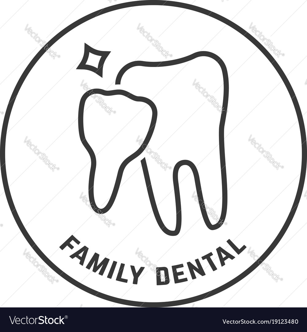 Thin line icon of family dental isolated on white
