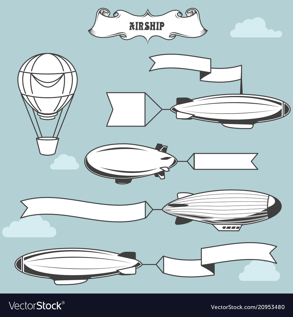 Vintage airships with greetings banner dirigibles