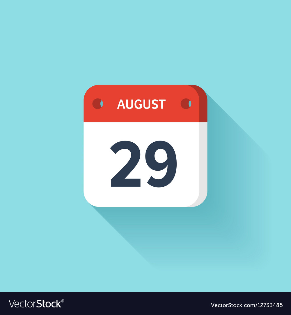 August 29 Isometric Calendar Icon With Shadow vector image
