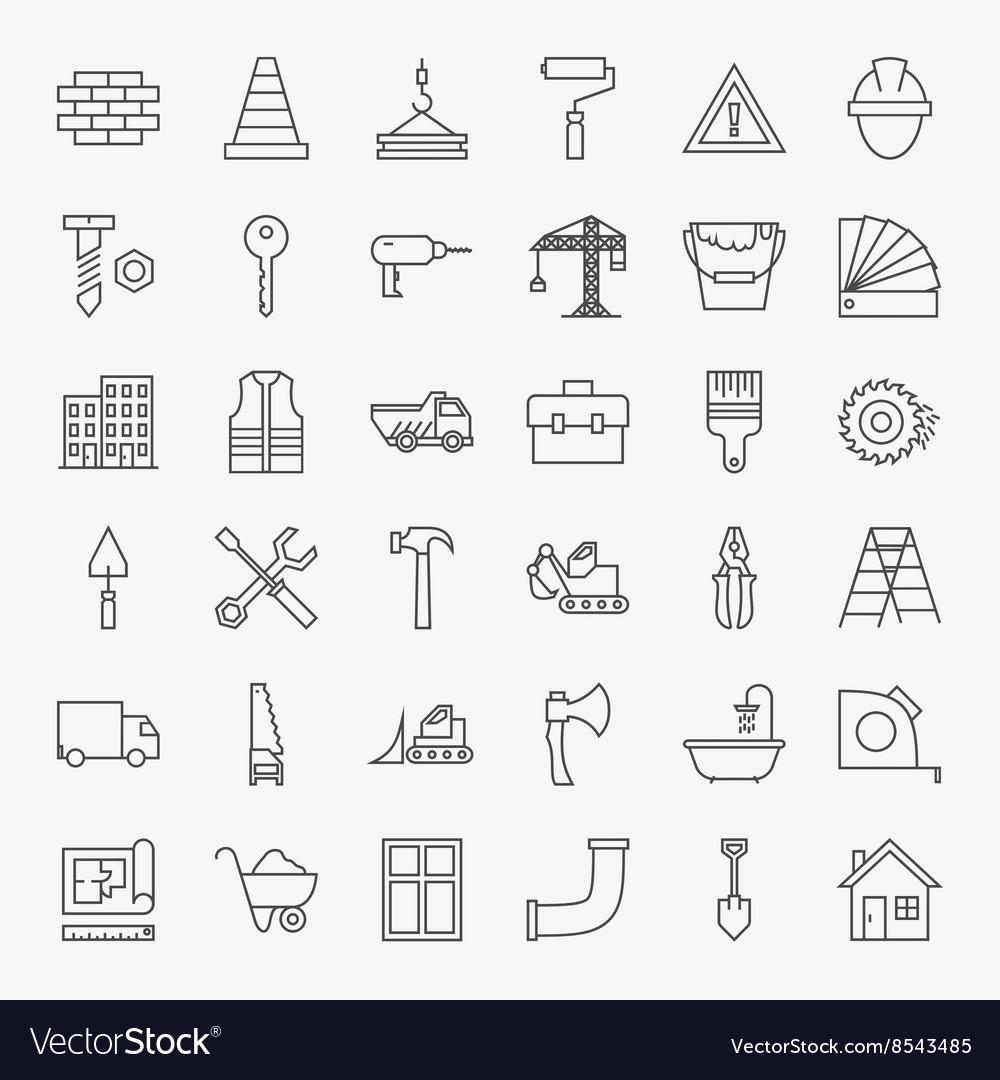 Building Construction Line Art Design Icons Big vector image