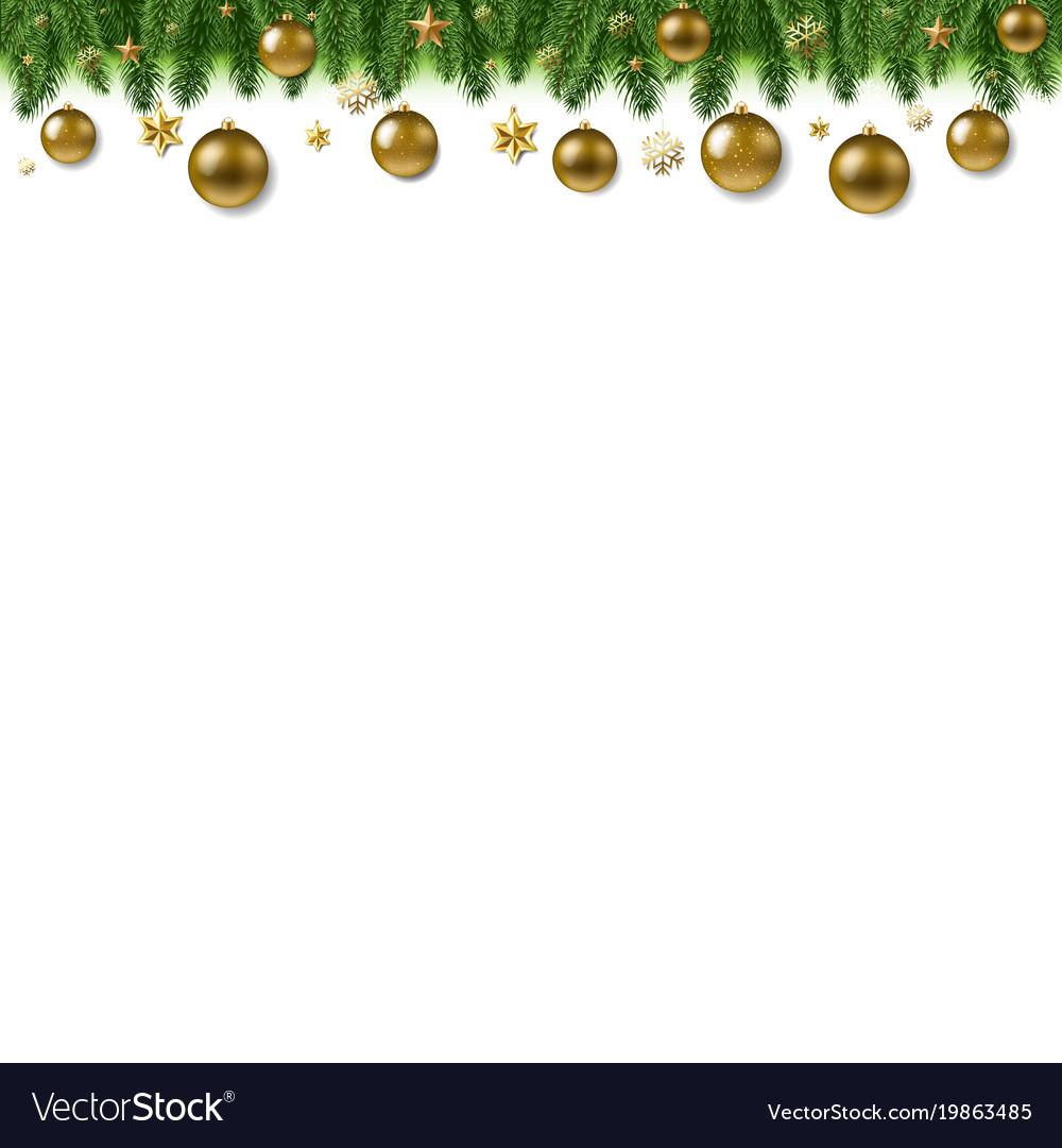 Christmas fur tree border with ball