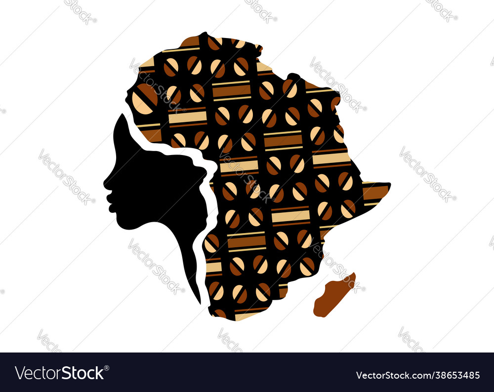 Concept african woman map africa logo
