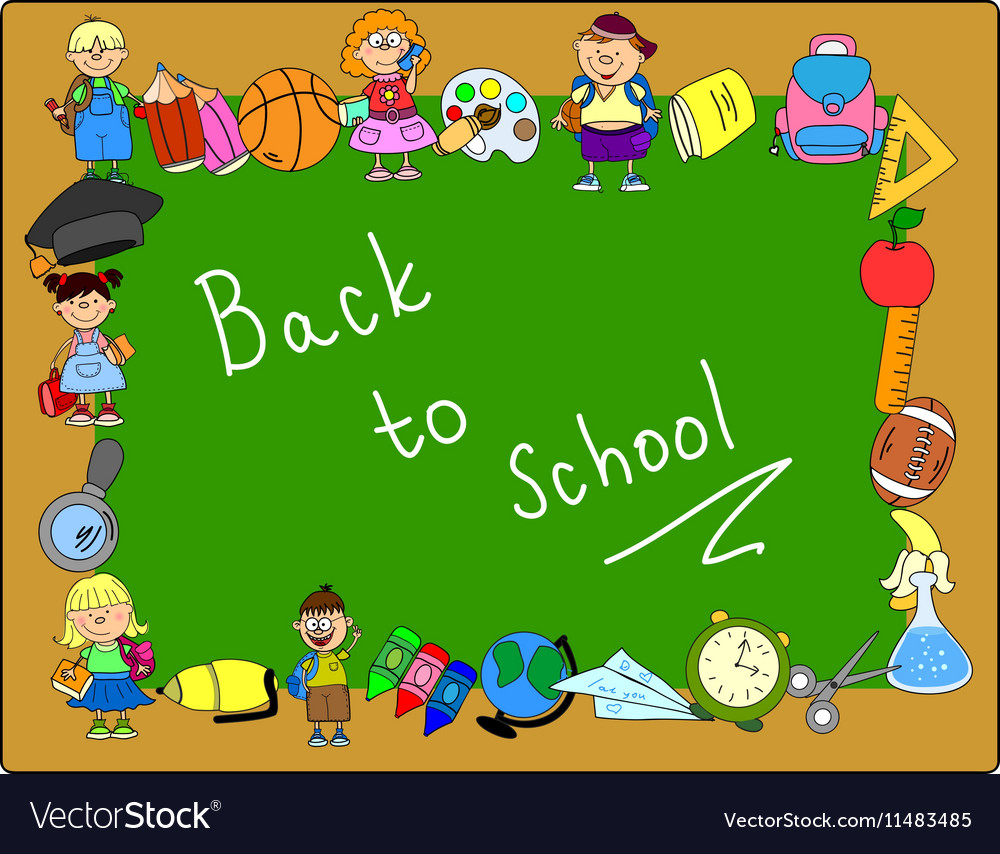 Cute Back To School Frame Royalty Free Vector Image