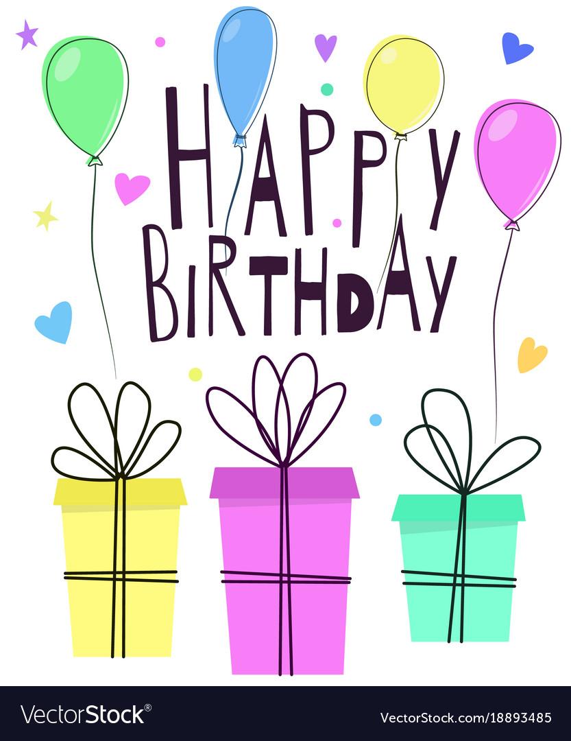 Cute Happy Birthday Greeting Card Design Vector Image