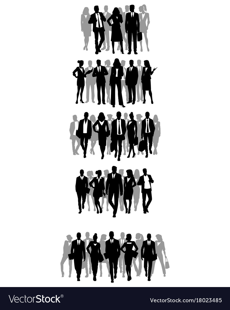 Groups of businessmen silhouettes