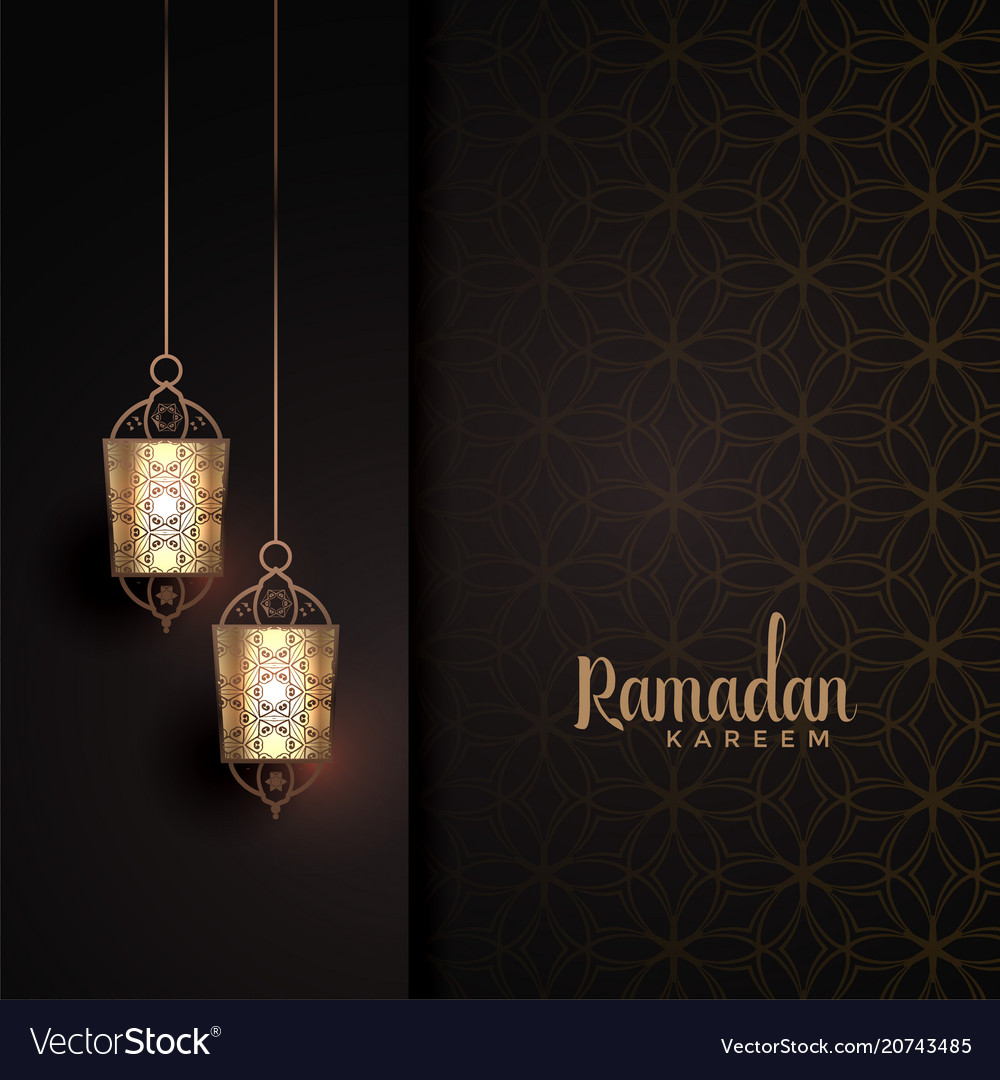 Hanging lanterns with text space for ramadan