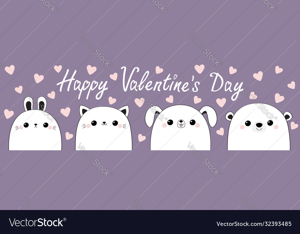Happy valentines day cat kitten bear dog puppy