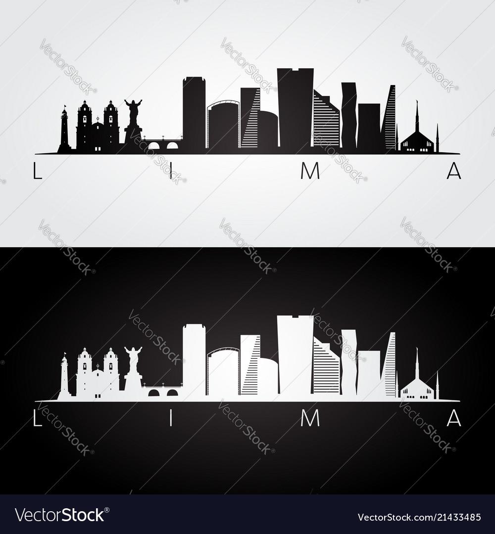 Lima skyline and landmarks silhouette