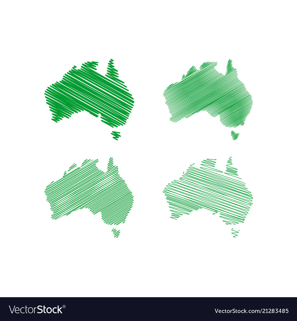 Australia Map Vector Ai.Scribble Australia Map