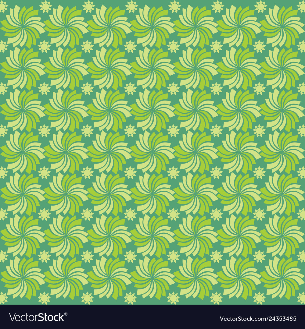 Seamless background with flowers ornament green