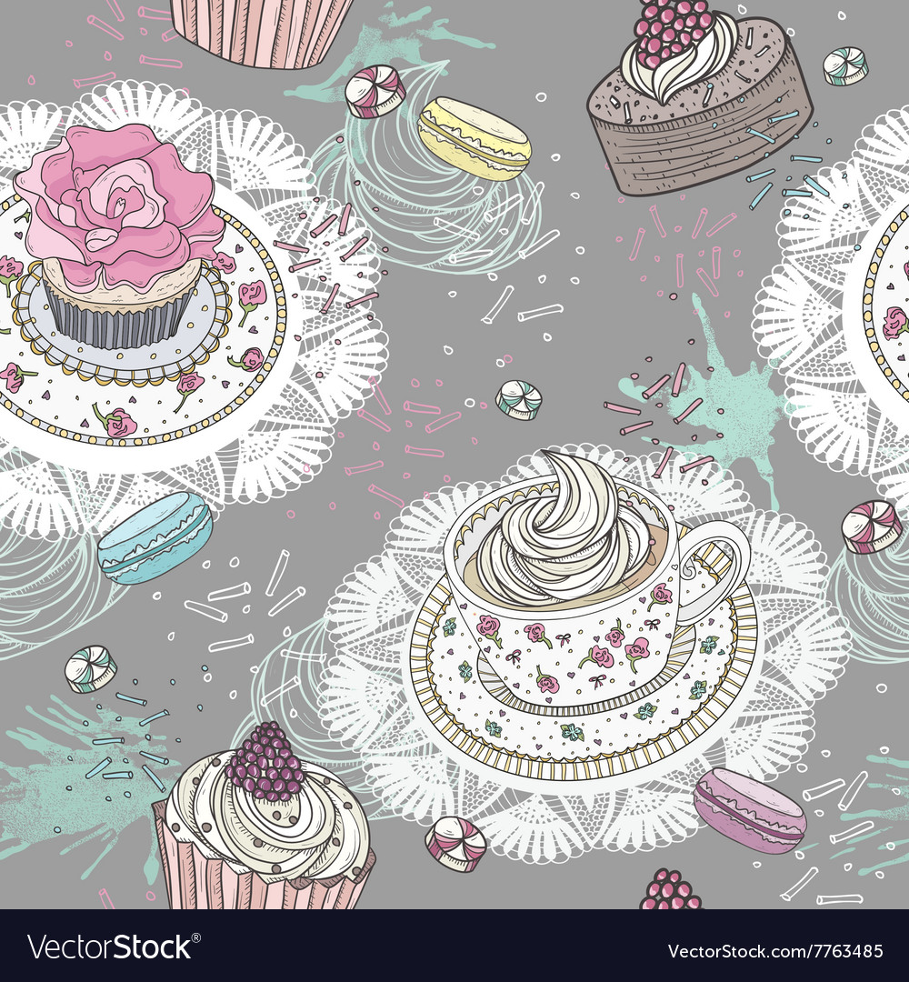 Seamless pattern with cupcakes tea and macaroons
