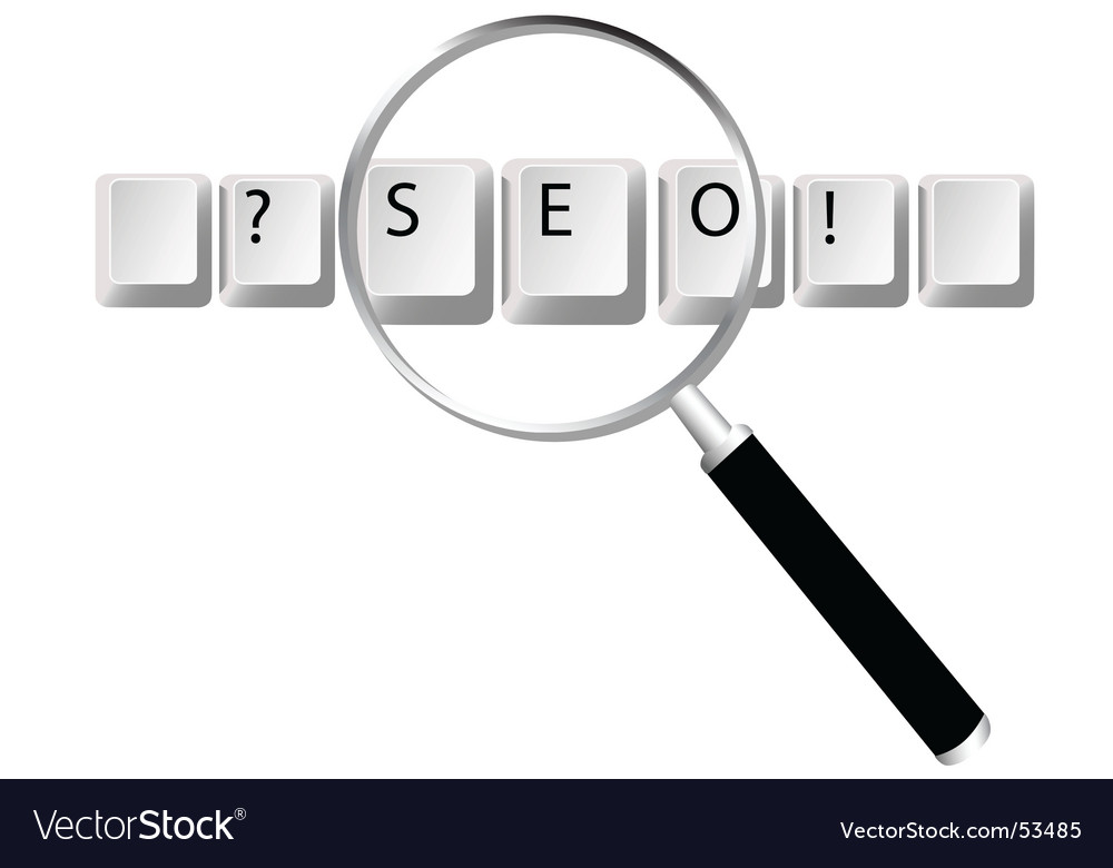 Seo Keys Magnifying Glass Search Optimized Se Vector