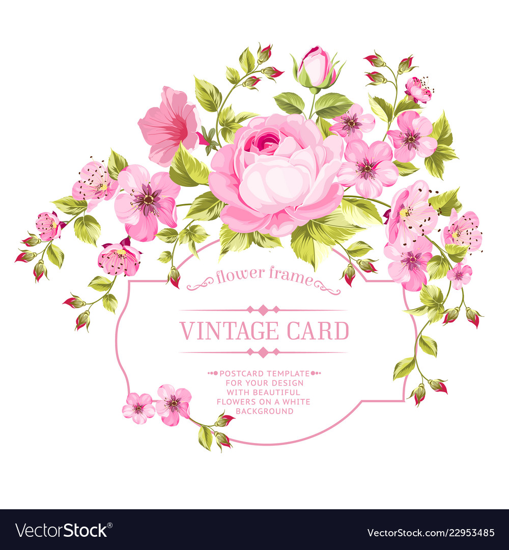Spring flowers bouquet for vintage card