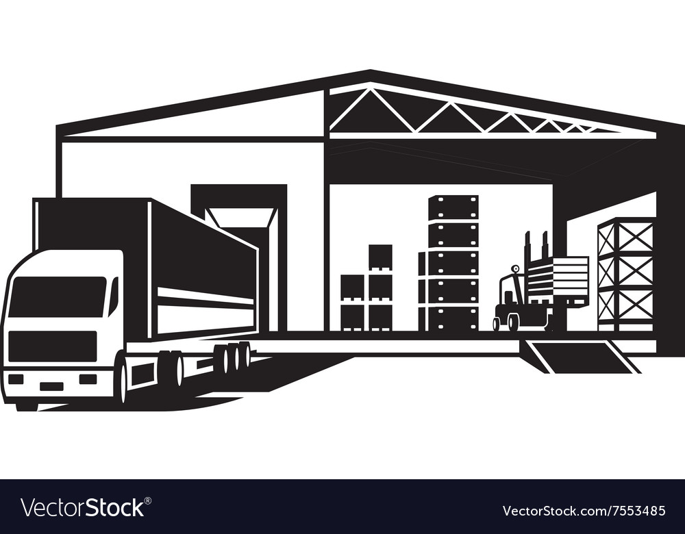 Truck loaded goods in warehouse vector image