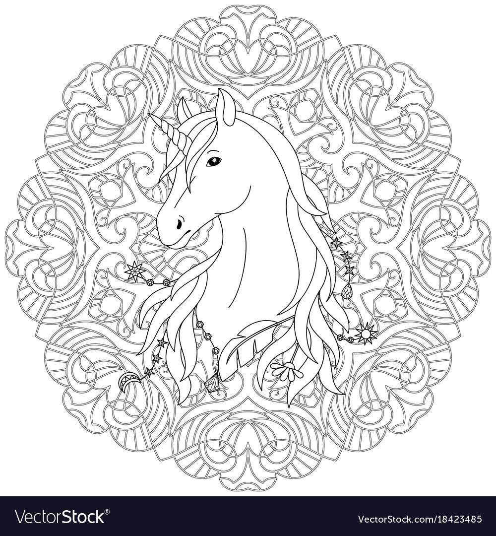 Unicorn tattoo coloring page Royalty Free Vector Image