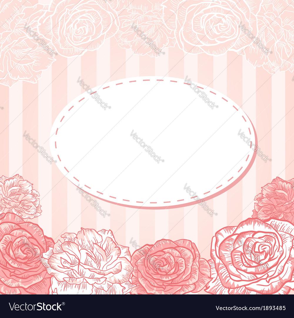 Valentine flower stripe invitation love card