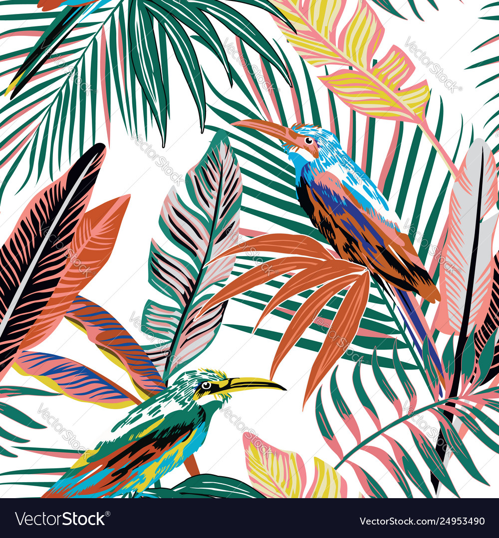 Abstract tropical birds in jungle seamless