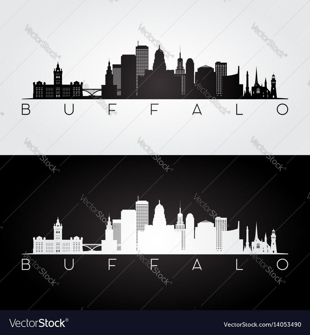 Buffalo usa skyline and landmarks silhouette