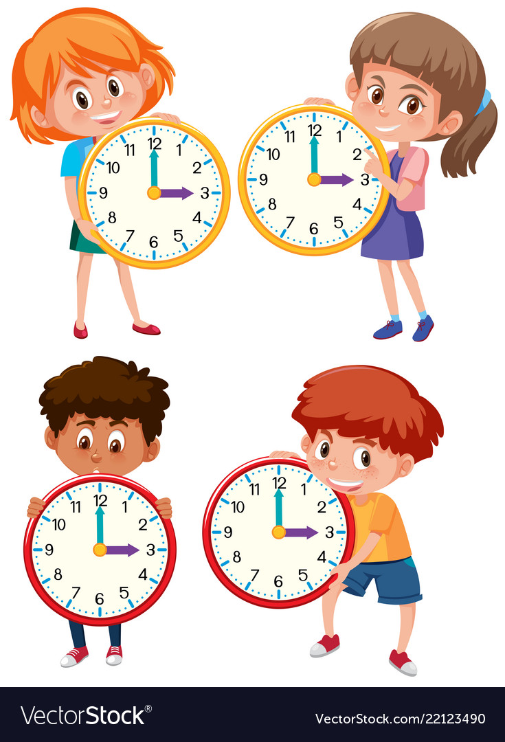 Children Clock Clipart Vector Images (82)