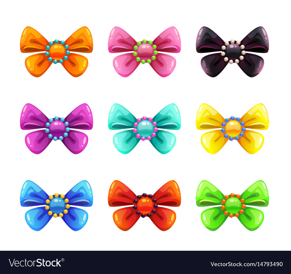 Colorful glossy decorative bows set