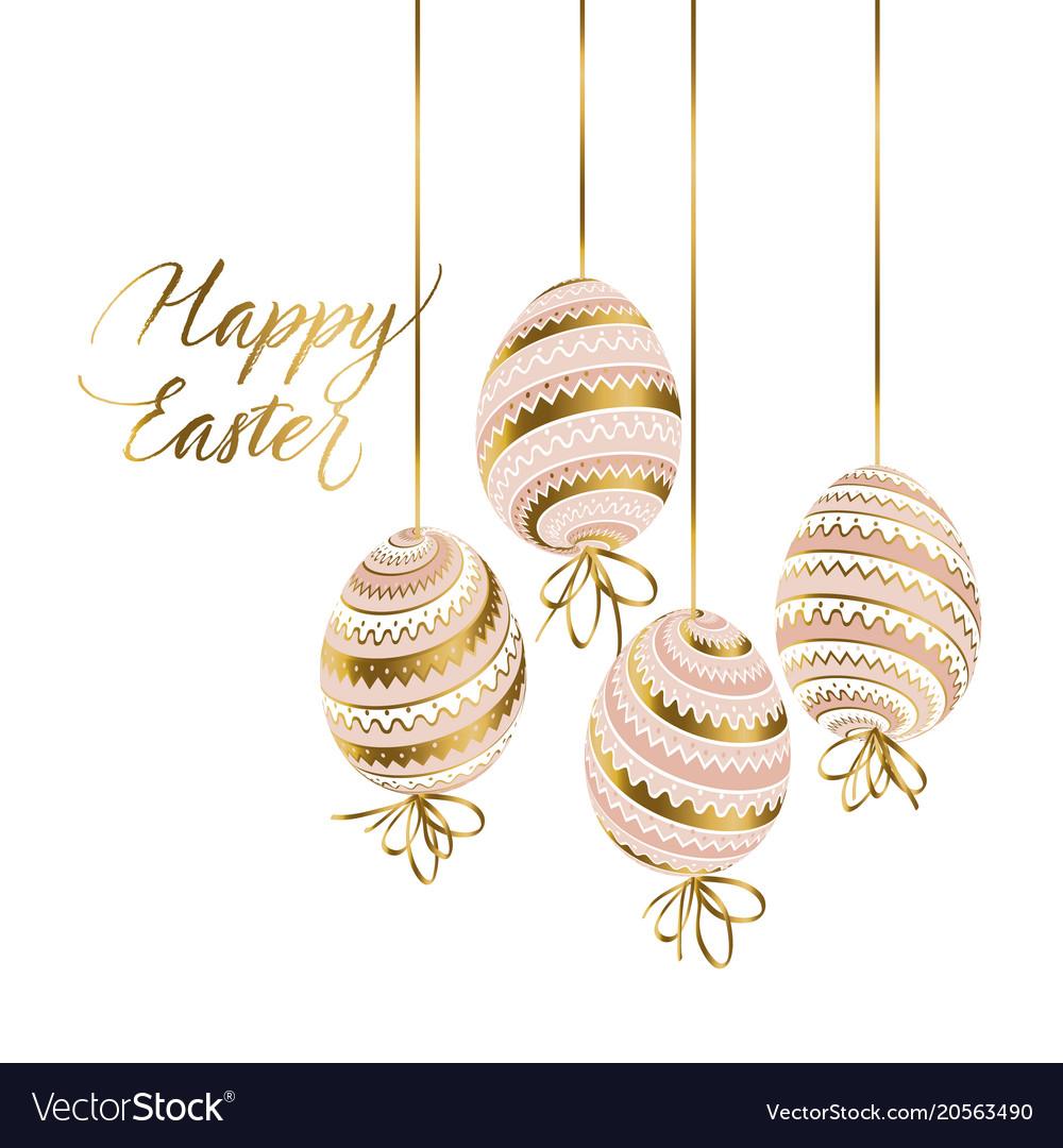 Elegant gold and pastel color easter eggs