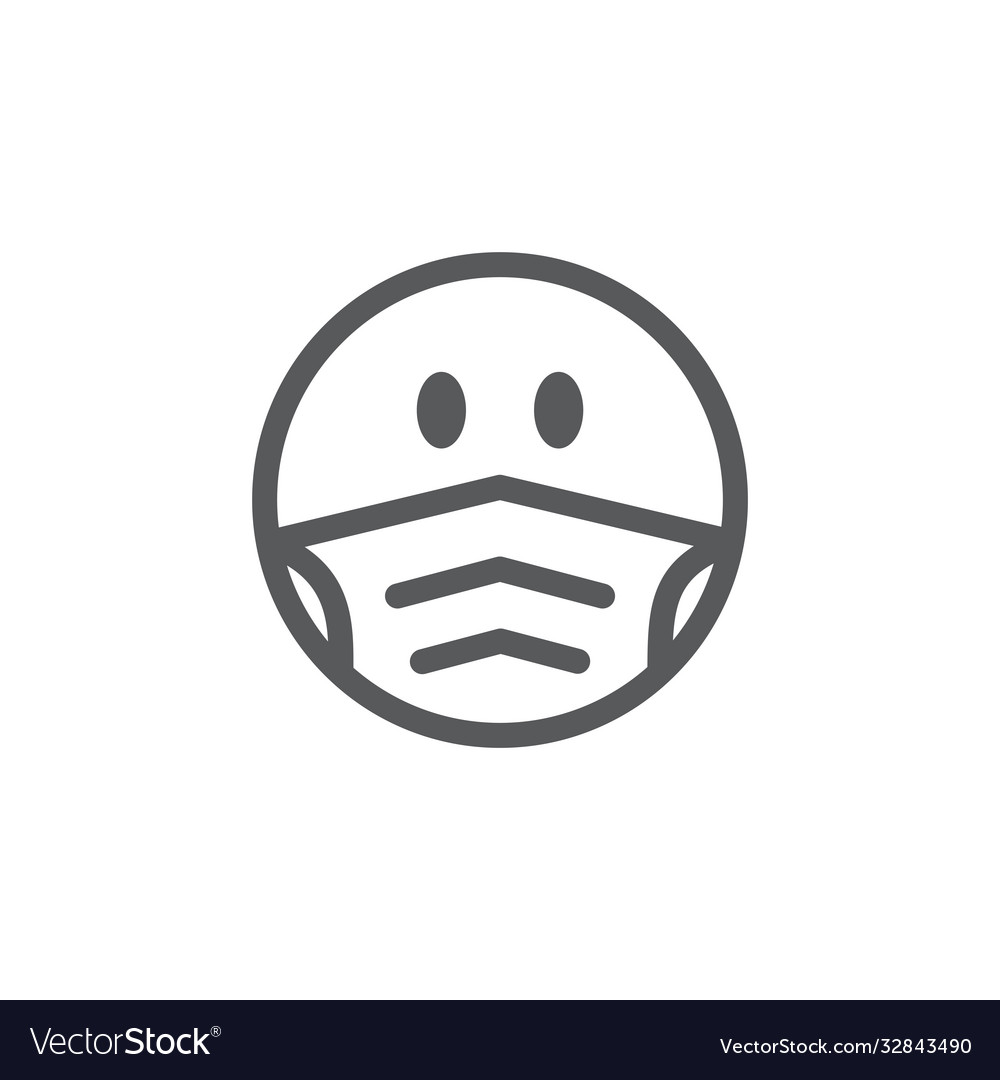 Emoji smile face in a medical mask