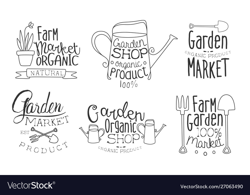 Garden shop organic product hand drawn badges set