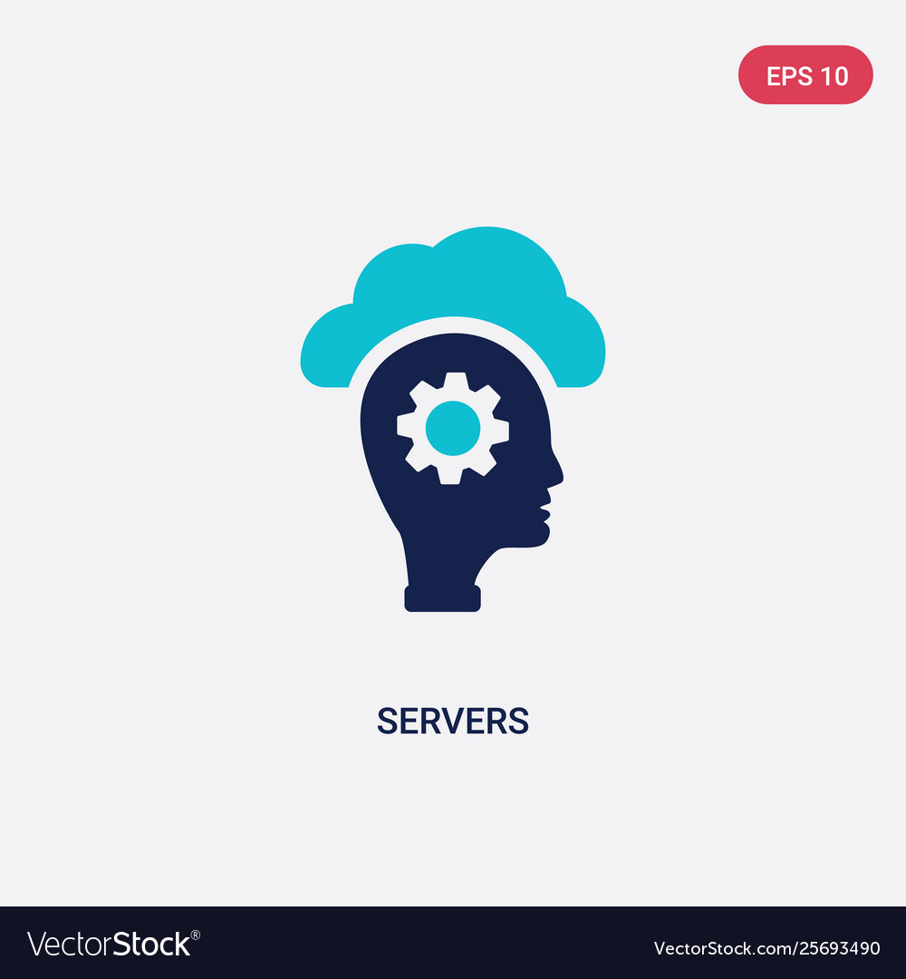 Two color servers icon from artificial